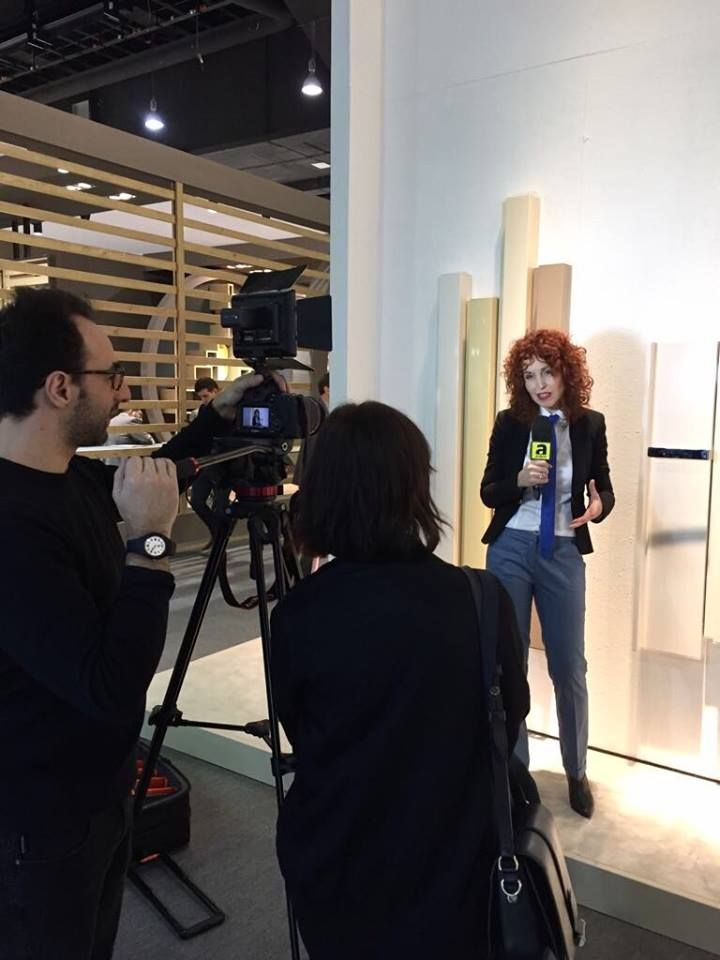 Here we are, the third day at ISH in Frankfurt has started!  Here is a photo taken yesterday: Antonia Crosetta, Tubes Brand and Promotion Manager, interviewed by Archiproducts.  Come to visit our booth HALL 3.0 E56!  #Tubesradiatori