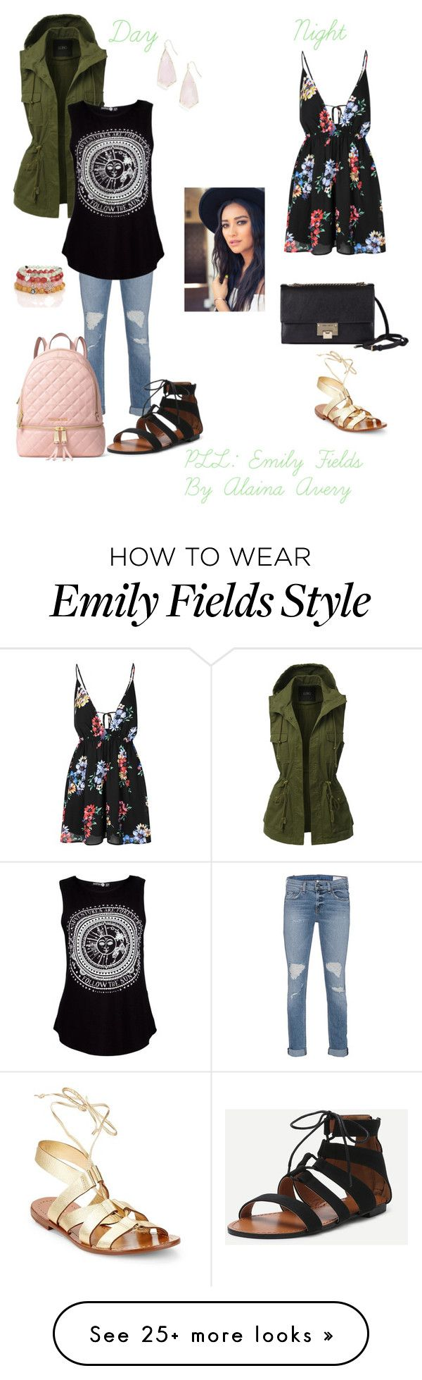 """PLL: Emily Fields"" by alainaavery on Polyvore featuring LE3NO, rag & bone, Blooming Lotus Jewelry, MICHAEL Michael Kors, Kendra Scott, Glamorous, Kate Spade and Jimmy Choo"