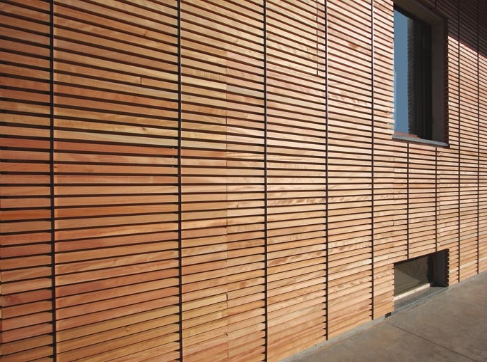 natural okoumè wood xiolmoenia wallcovering. protects industrial walls with high traspirability.
