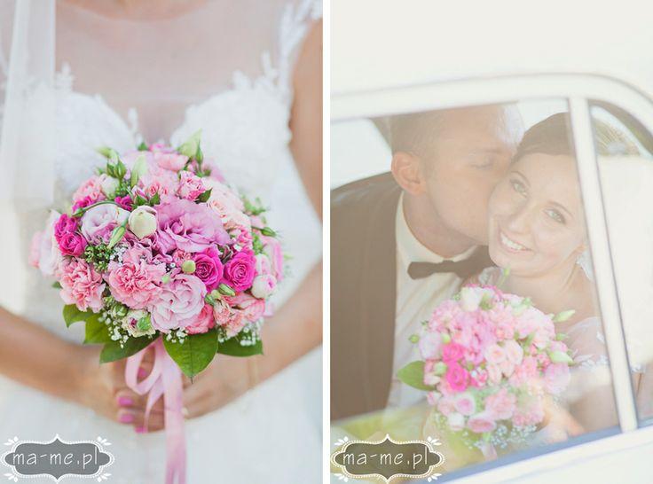 Różowy pastelowy bukiet - róze i goździki / Pink pastel bouquet - roses and carnations
