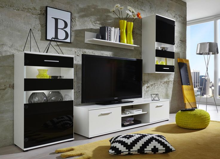 Trendige Wohnwand von CARRYHOME - jugendlicher Flair in Schwarz und Weiß