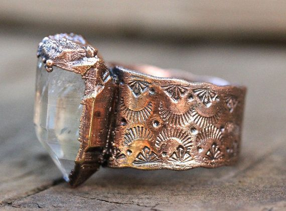 Raw Crystal Ring Quartz Crystal Ring Mineral by DeerGirlDesigns