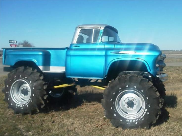 Blue lifted truck