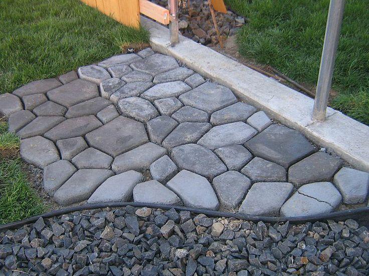 Easy concrete cobblestone path