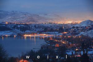 Kalamalka Lake, Coldstream and Vernon BC shining at night in the winter. http://donweixl.com/wordpress/