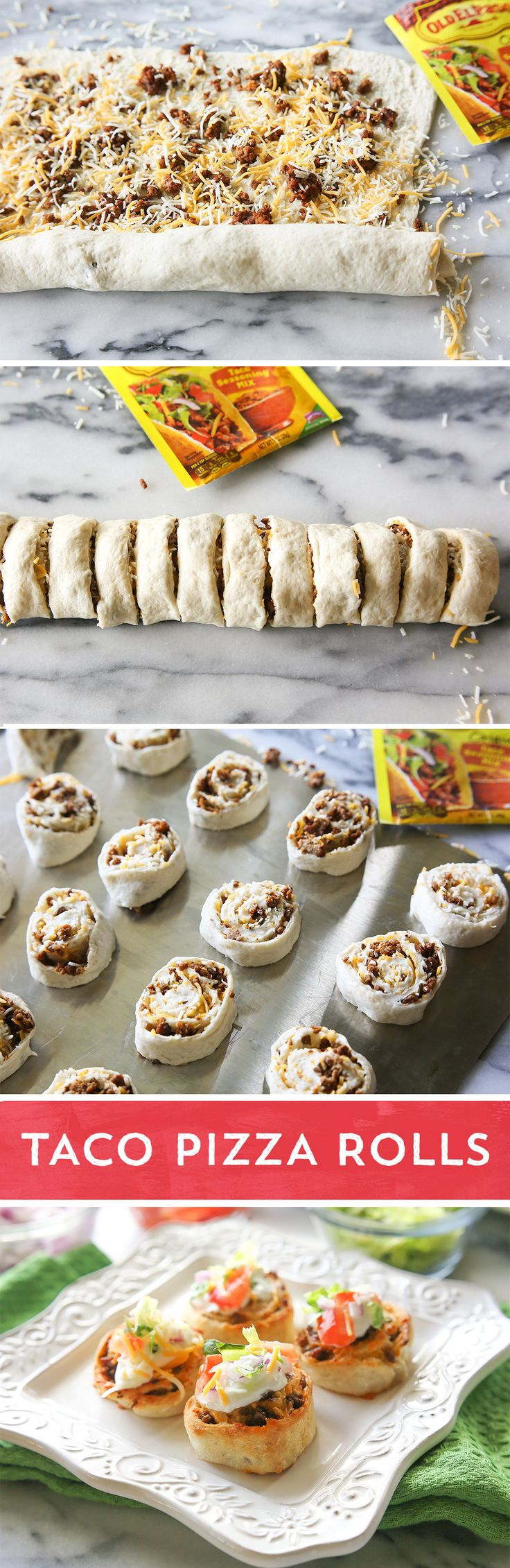Tacos + Pizza! Two family favorites combine for one amazing meal ready in 30 minutes. Refrigerated pizza dough, ground beef, Old El Paso™ taco seasoning, and shredded cheese get rolled up and baked into tasty handheld bites. Top each with your favorite taco toppings for a fun appetizer or meal. School nights will never be the same.