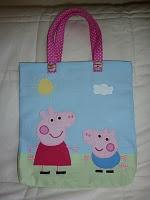 Handmade applique Peppa Pig bag