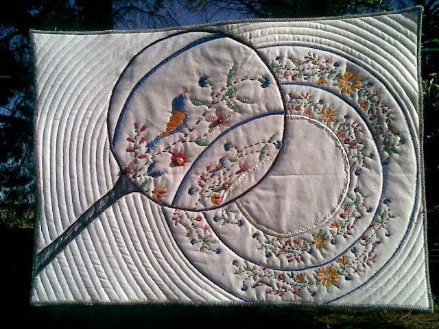"Macro - Fleur Maddern - ""What's for Dinner"" Challenge 6 - Art Quilts Around the World"