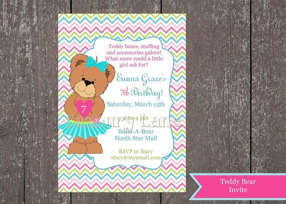 10 best birthday invites images on pinterest teddy bears printable invitation teddy bear party build a bear birthday printable diy filmwisefo Images