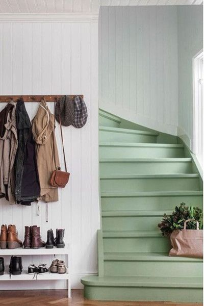 15 Ways to Paint Your Staircase is part of - Whether you are creating a cool contrast with a railing, going totally rainbow, or adding in handpainted tiles, your home will totally make a cool statement Painted Stairs, Painted Floors, Painted Tiles, Hand Painted, Up House, House Stairs, Foyers, Interior Exterior, My Dream Home