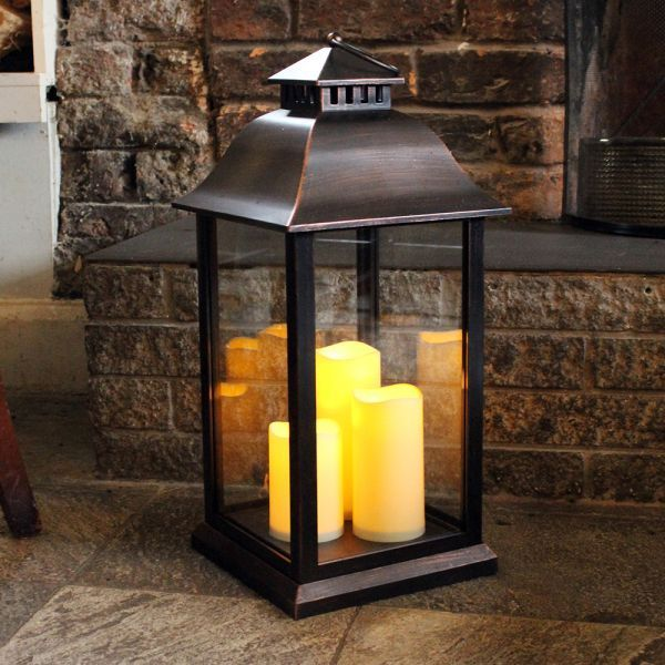 Medium Battery Operated Indoor / Outdoor Candle Lantern In Black   61cm High