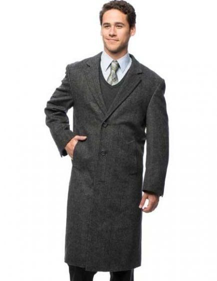 c41a128ac97b Grey Blend 3 Buttons Herringbone Long Top Coat - $199.00 Descripition :  ->This herringbone overcoat is a true staple for the work or weekend.