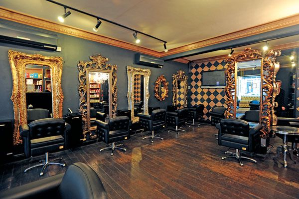 Mismatched gold baroque-style mirrors all over my house! Duhhhh! (cute salon too)