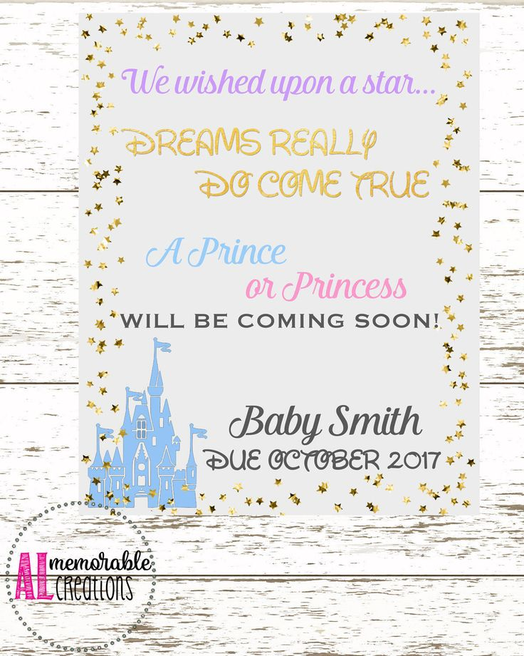 Disney Pregnancy Announcement Photo Prop, New Baby Announcement, Wished Upon A Star Pregnancy Announcement, Expecting A Baby, Pregnancy Sign by ALMemorableCreations on Etsy