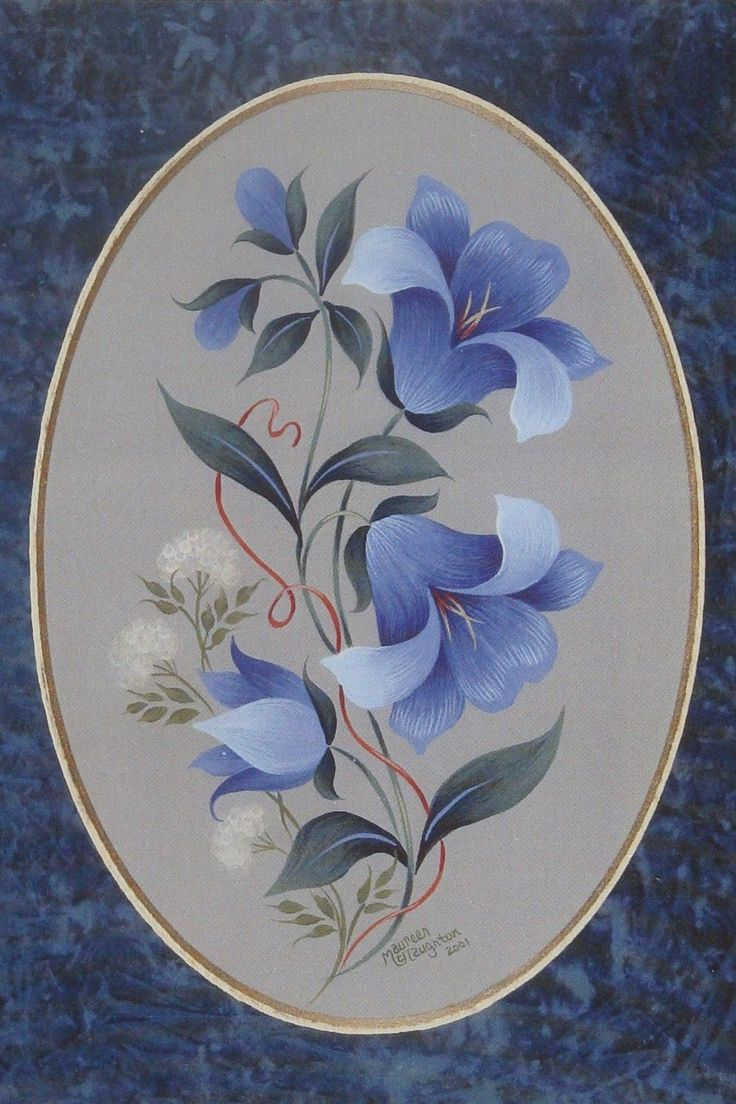 "Maureen McNaughton GORGEOUS tole painting pattern ""Bluebells - Strokework""                                                                                                                                                                                 More"