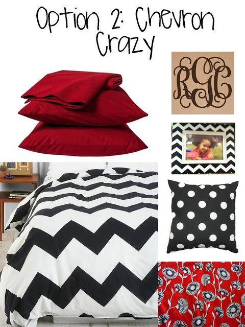 Red and black chevron bedding inspiration for your college dorm room