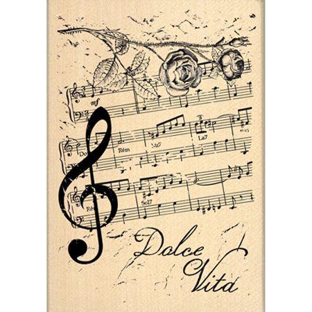 Tampon bois - C'est le Printemps - Notes de Musique - 6 x 9 cm
