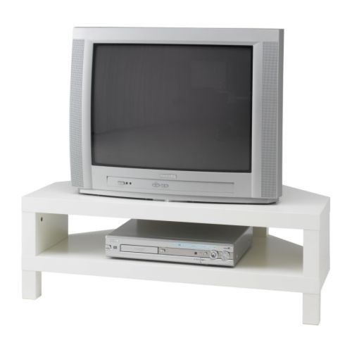Ikea lack corner tv stand bench white bianca 39 s condo for Meuble tv console