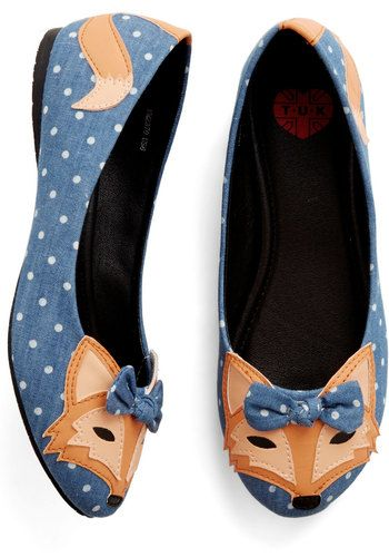 Clever So Sweet Flat in Denim - Flat, Woven, Blue, Multi, Polka Dots, Print with Animals, Bows, Casual, Quirky, Critters, Better, Variation