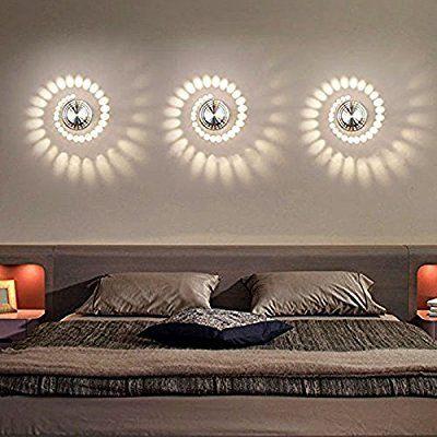 Coocnh 3W LED Wall Light Indoor Aluminum Modern Effect Wall Lamp for Babyroom Living Room Bathroom Bedroom Corridor Wall Lighting Warm White: Amazon.co.uk: Lighting #LampMurale