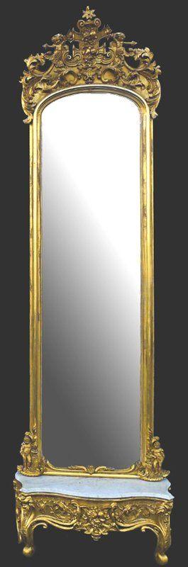 Espejo Victoriano Pier   con blanco mármol Base oro, c.1850 coronado por cupidos en corona