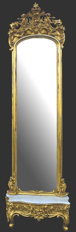 Gold Victorian Pier Mirrors With White Marble Base, Has Cupids In Crown And In Base c.1850.