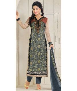 Adorning Grey And Multi-Color Georgette Straight Suit.