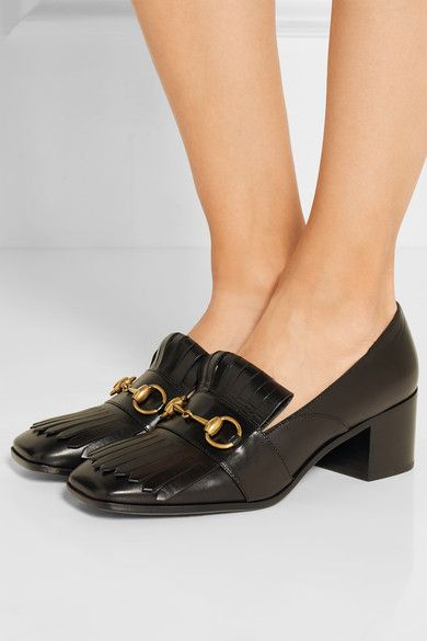 Heel measures approximately 55mm/ 2 inches Black leather Slip on Made in Italy