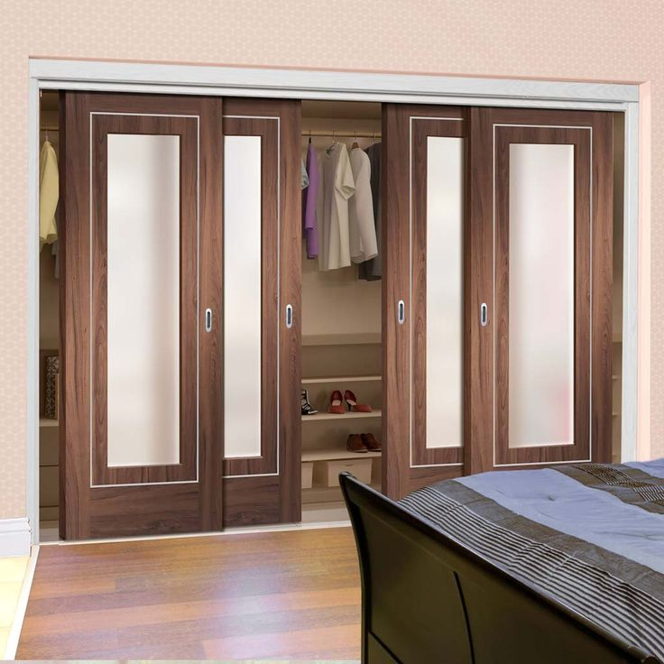 Cute Bespoke Thruslide Varese Walnut Glazed Door Wardrobe and Frame Kit Aluminium Inlay Prefinished