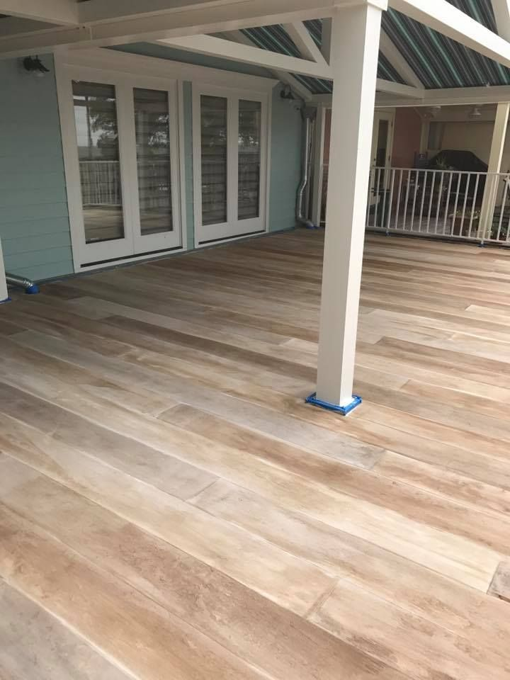 Concrete floor stained to look like a wood floor! I love this!