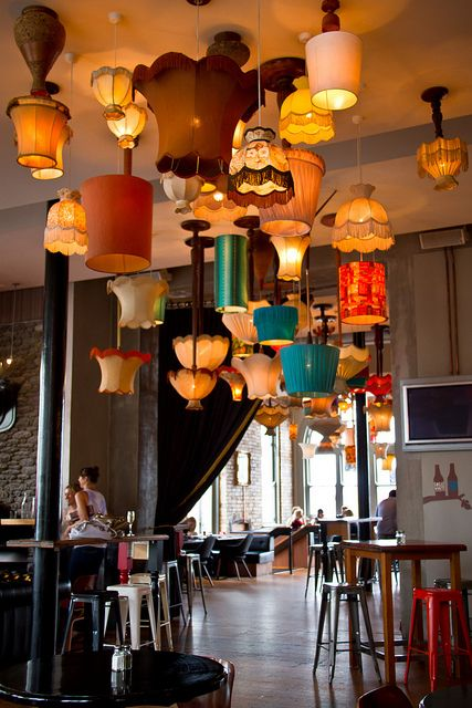 Upside down hanging lamps at Mac's Northern Steamship Brewbar