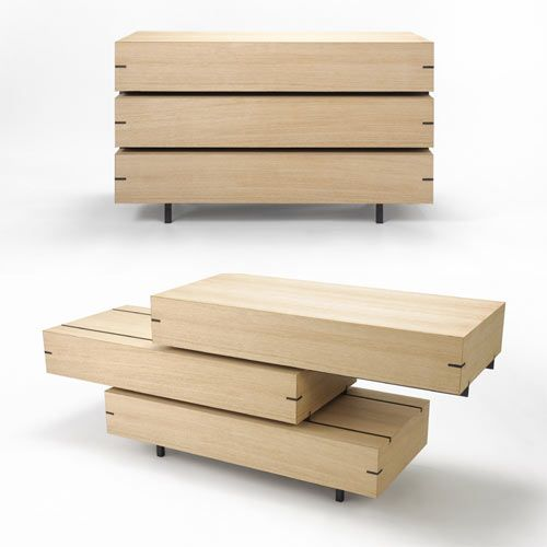 Drawer Shelf by Keiji Ashizawa transforms from chest of drawers into a shelving unit with a simple sliding motion. Minimal yet multi-functional.