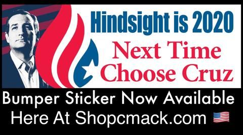 NEW ITEM! Ted Cruz ~ Hindsight is 2020 Bumper Sticker!