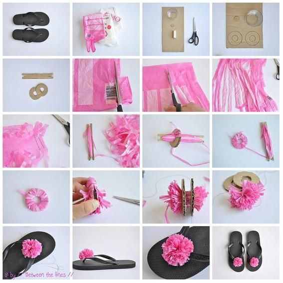 Here is a nice idea using plastic bags -- Make Recycled plastic bag pompom  flip-flops . Summer is coming soon, if you don't want to get your flip-flops  out