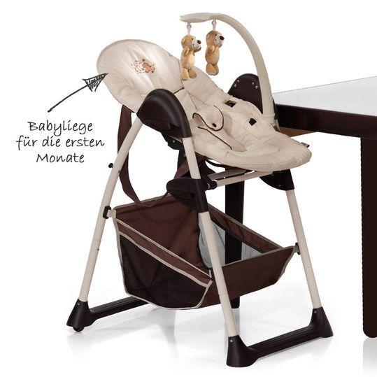 Hochstuhl & Babyliege ab der Geburt. Höhenverstellbar & komfortabel.
