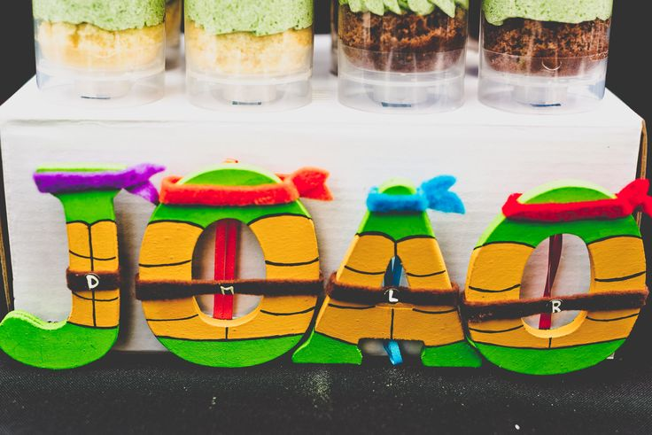 Teenage Mutant Ninja Turtle Theme Party- Event Design by Sulair Events. Letters…