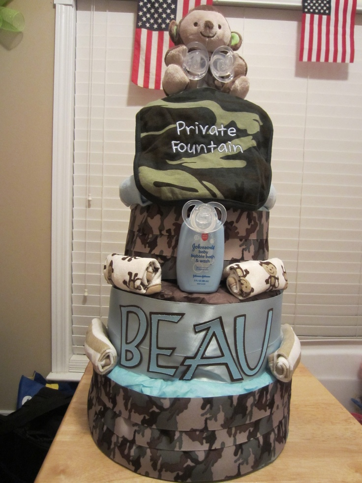 Army Camo 4 Tier Diaper Cake Crafts By Me Pinterest