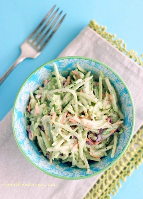 Easy Broccoli Slaw Recipe - also used 2 tablespoons of lemon juice to thin the dressing, and one Stevia packet as a sugar substitute.