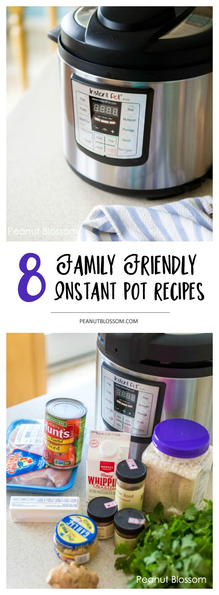 8 family friendly Instant Pot recipes: perfect for busy school nights this fall or for the hectic holiday season! Great instant pot dinner ideas that kids will love. The butter chicken is our favorite!