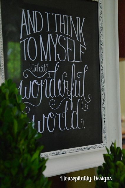 Love the writing on this chalk board