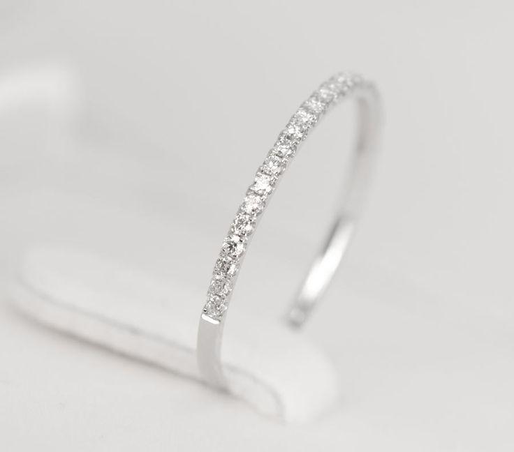 Diamond Wedding Band 14K White Gold - SALE. $350.00, via Etsy.