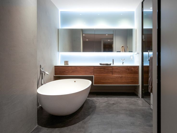 Falken Reynolds   Modern Bathroom In Our Bachelor Pad Loft Features A  Freestanding Agape Spoon XL
