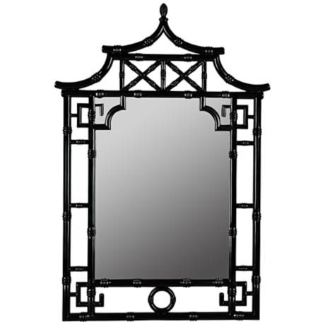"Cooper Classics Pagoda 28 1/4""x42"" Black Wall Mirror"