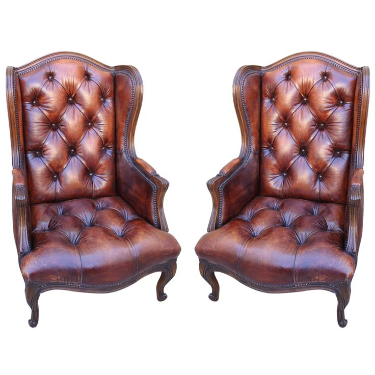Pair Of French Leather Tufted Bergeres C. 1930u0027s