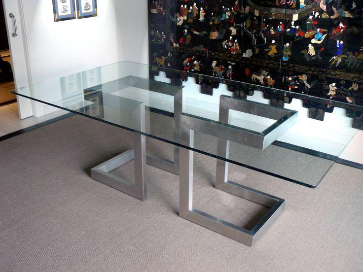Las 25 mejores ideas sobre mesa de hierro en pinterest y for Mesas de comedor de vidrio modernas