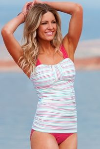 Top 15 Modest Swimsuits for Summer | Pink striped tankini two piece swimsuit | BlushingGirl.com