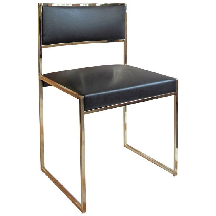 Vintage Brass and Black Leather Dining Chair   From a unique collection of antique and modern dining room chairs at https://www.1stdibs.com/furniture/seating/dining-room-chairs/