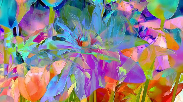 Скачать обои цветы, лепестки, луг, сад, рендеринг, раздел абстракции в разрешении 1366x768