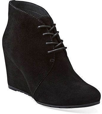 $145, Black Suede Wedge Ankle Boots: Clarks Rosepoint Dew Suede Wedge Ankle Boots. Sold by Lord