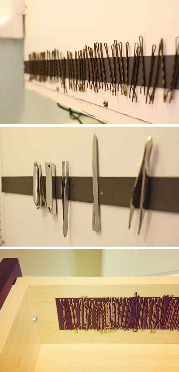 #7. Cut the strips to size and install them on the inside of a medicine cabinet to keep your bobby pins; or install inside a drawer.